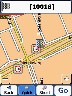 Example of the Destinator map with speedcams